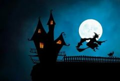 Hexe reitet auf ihrem Reisigbesen zur Walpurgisnacht